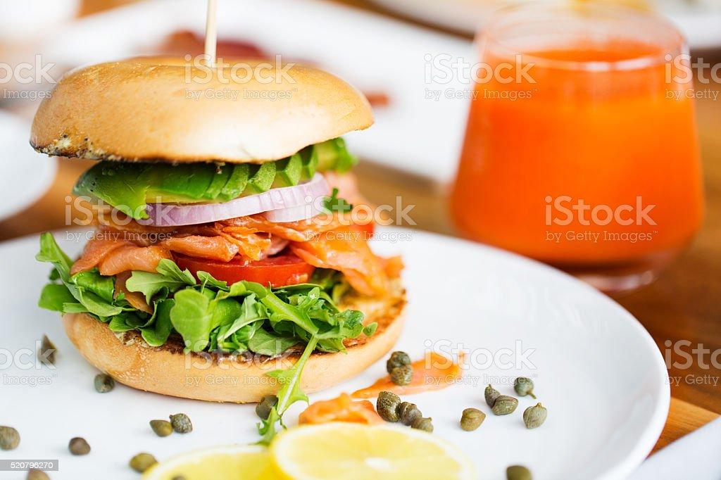 salmon bagel for breakfast stock photo