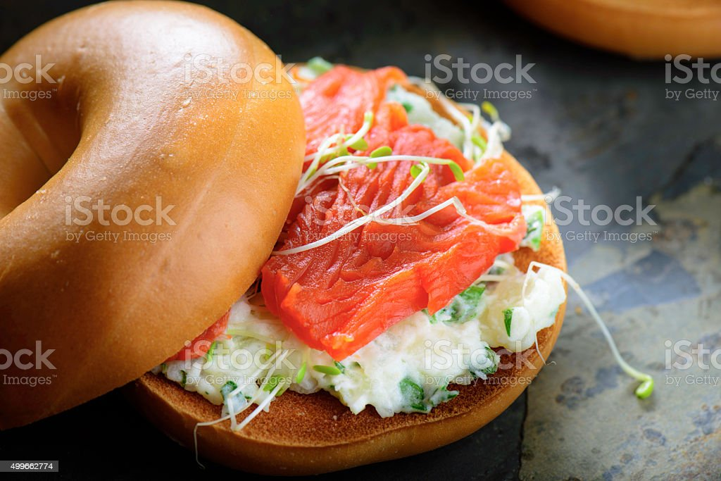 Salmon Bagel stock photo