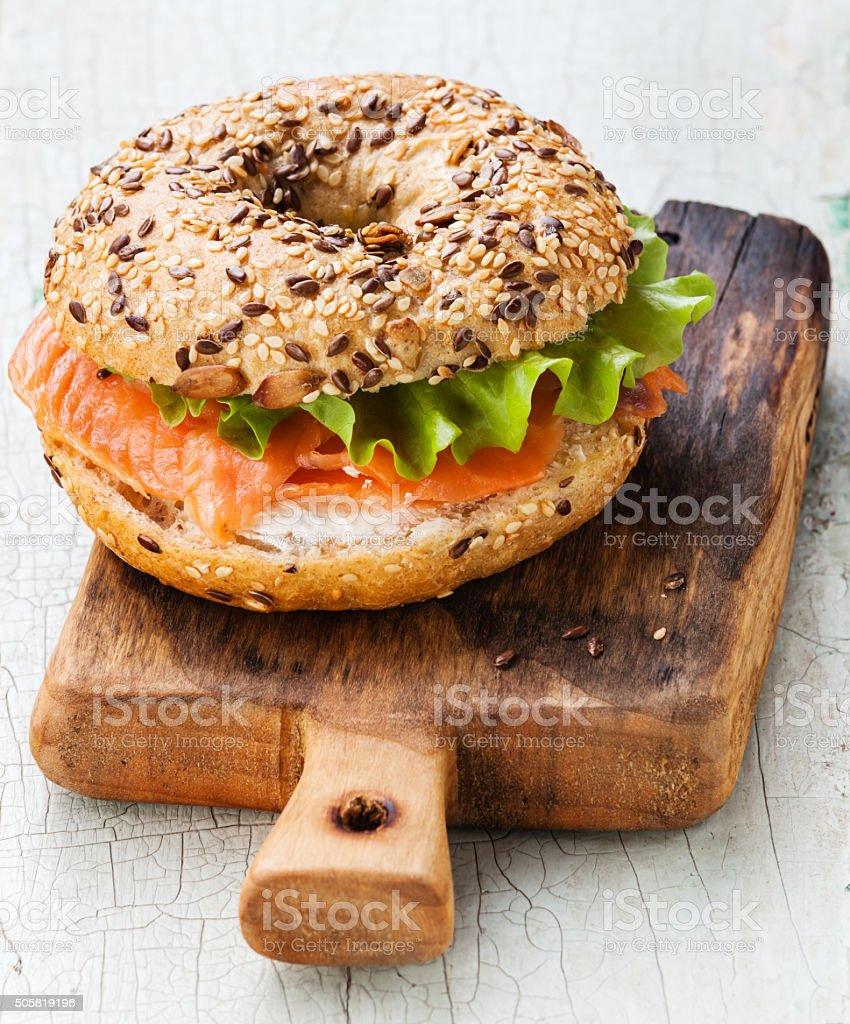 Salmon Bagel Sandwich stock photo