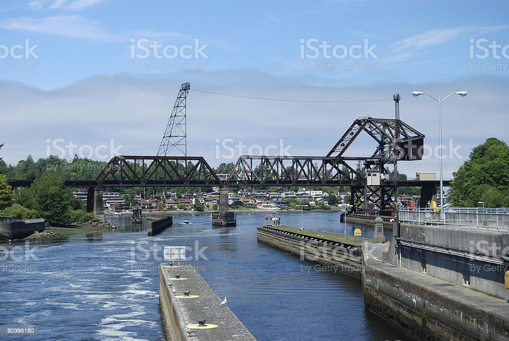 Salmon Bay Bridge and Ballard Locks stock photo