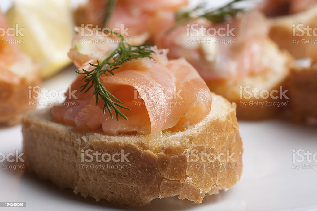 salmon bruschetta royalty-free stock photo
