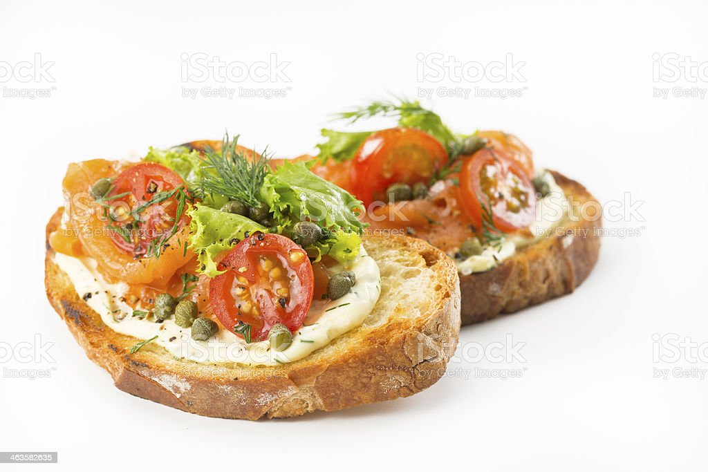 Salmon Bruschetta stock photo