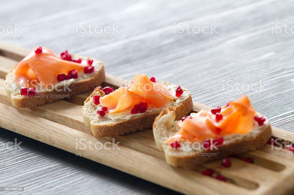 Salmon bruschetta royalty-free stock photo