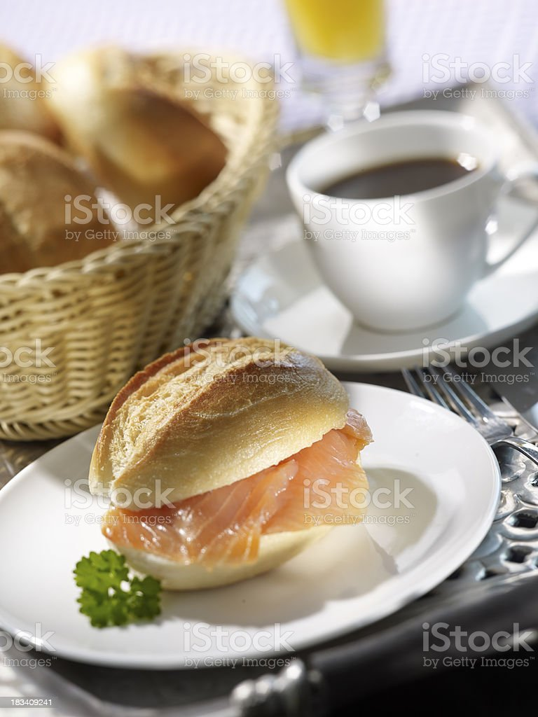 Lachs Br?tchen stock photo