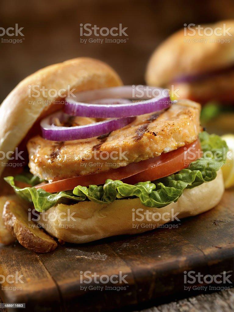 Salmon Burger royalty-free stock photo