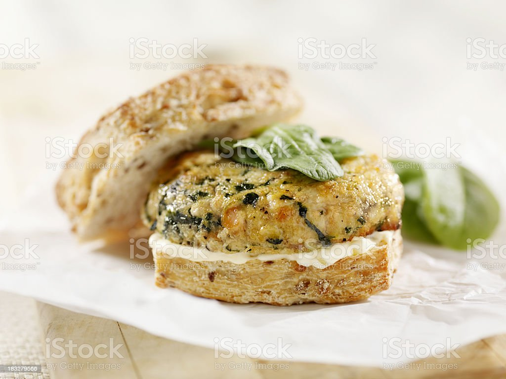 Salmon Burger with Spinach and Mayo stock photo
