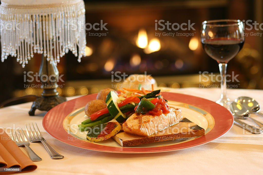 Salmon by Fireplace royalty-free stock photo