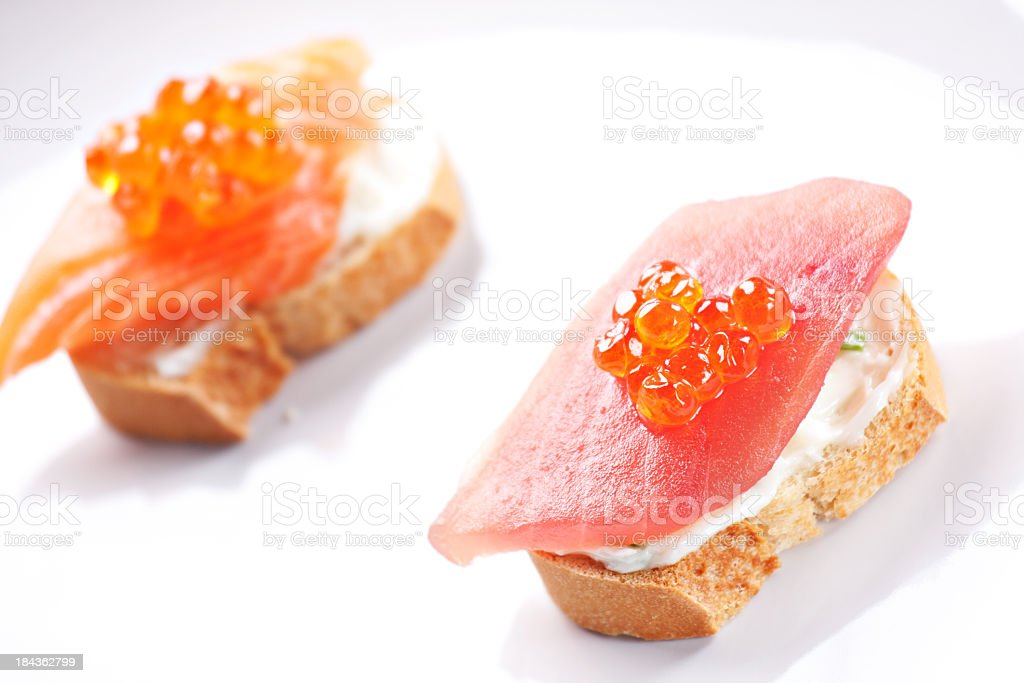 Salmon Canapes on a Baguette with Cream Cheese royalty-free stock photo