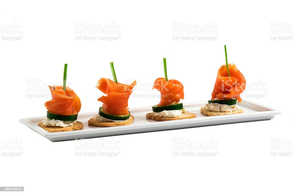 Salmon Canapes stock photo