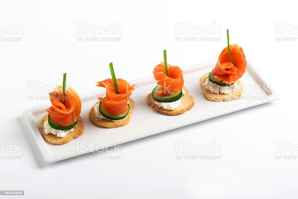 Salmon Canapes stock photo