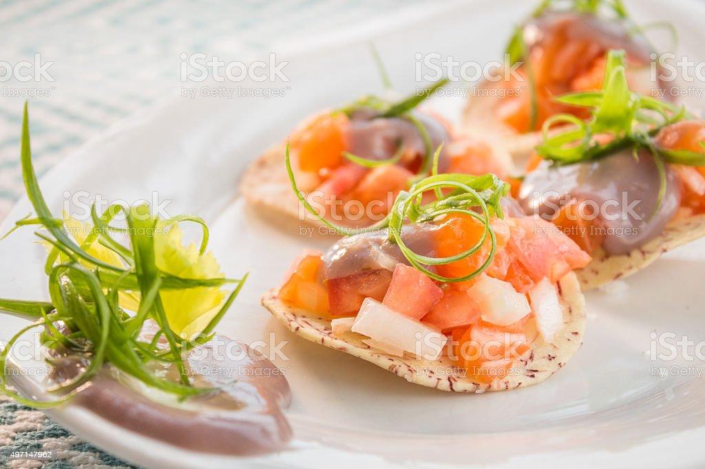 Salmon Ceviche stock photo