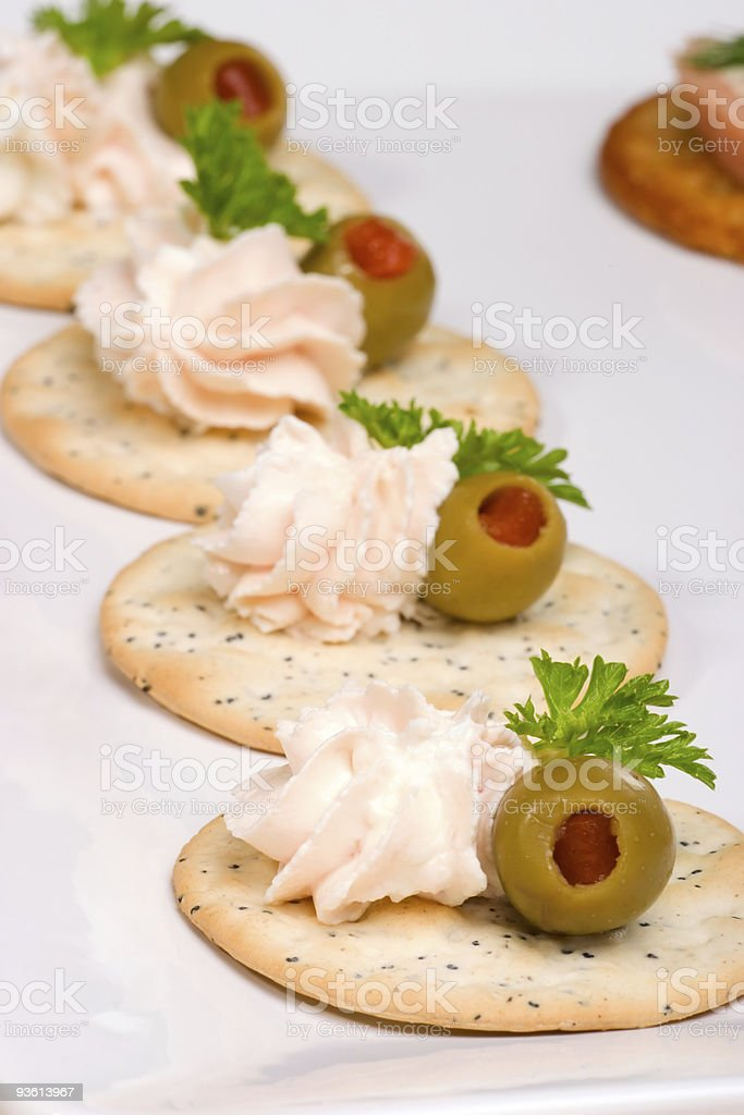 Salmon cheese canape royalty-free stock photo