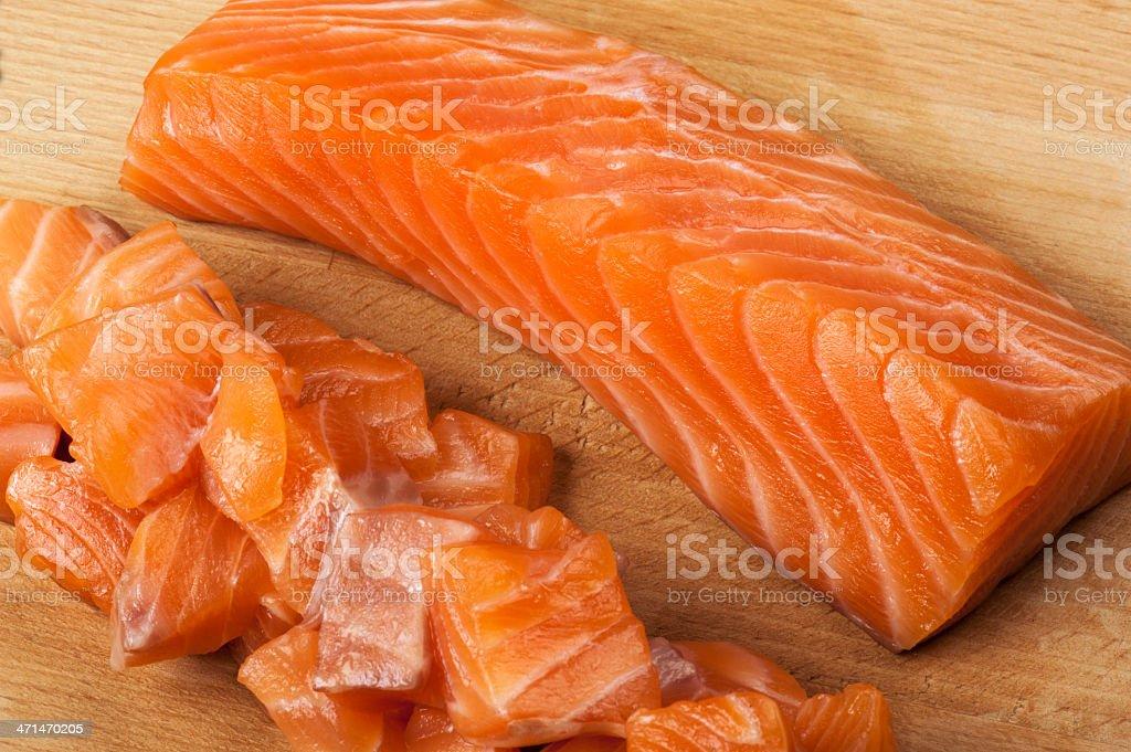Salmon Chopped royalty-free stock photo
