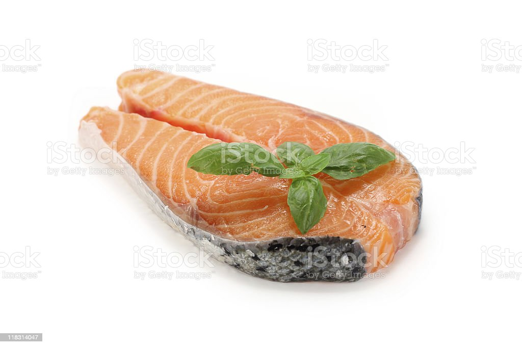 Salmon cutlet with basil royalty-free stock photo