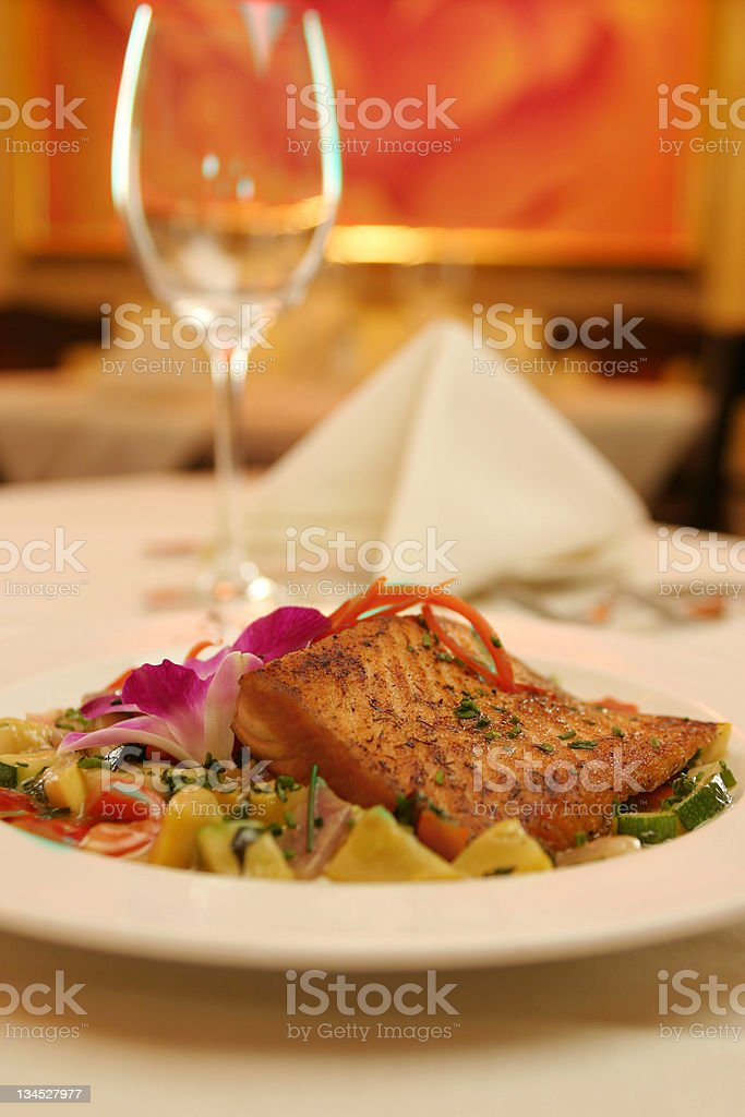 Salmon Dinner at a Five Star Restaurant royalty-free stock photo