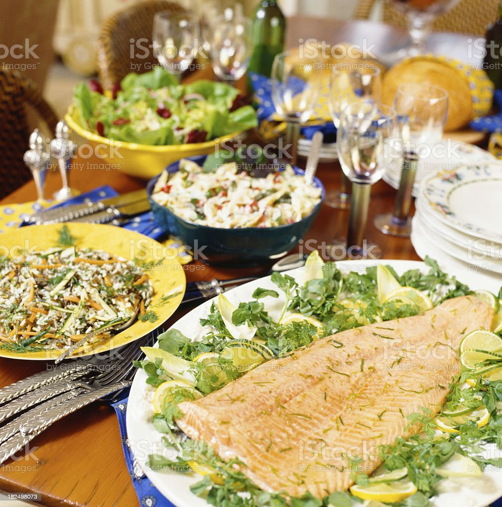 Salmon dinner banquet stock photo