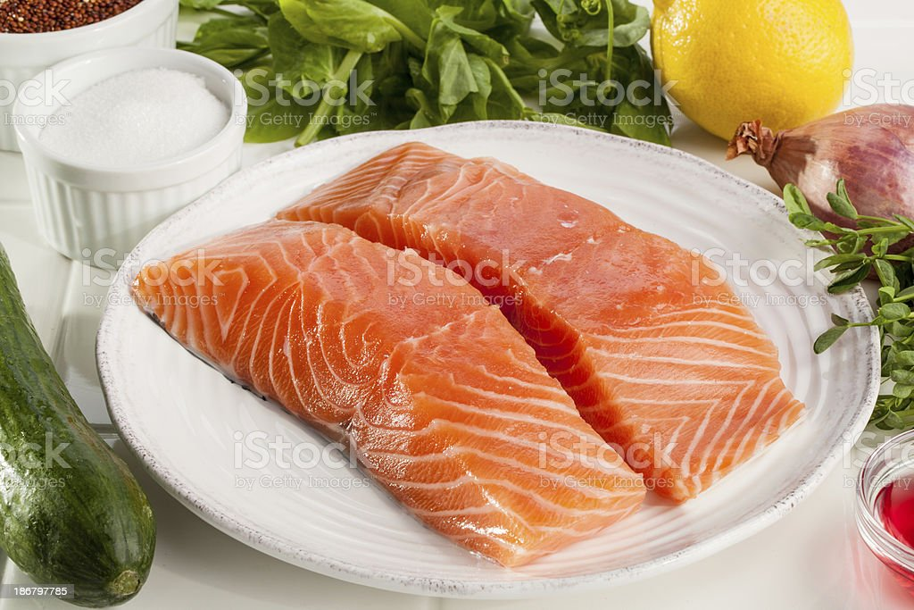 Salmon dinner ingredients royalty-free stock photo