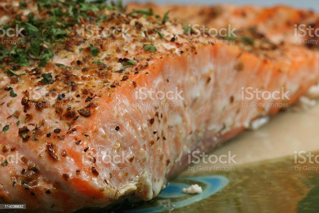 Salmon Dinner on an Asian Plate royalty-free stock photo
