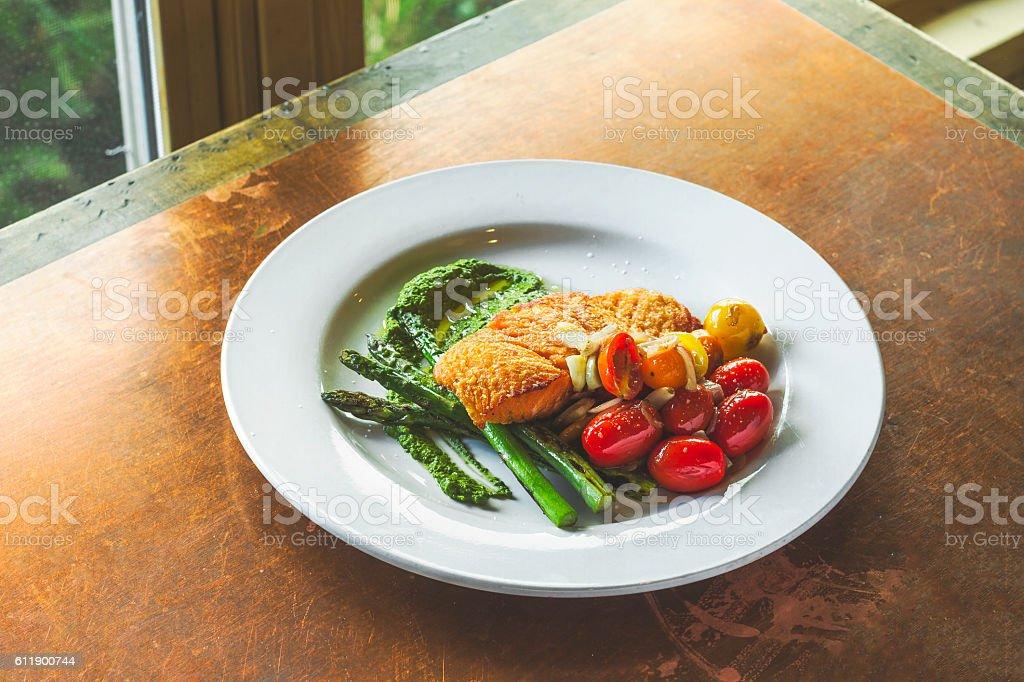 Salmon Dinner with Asparagus stock photo