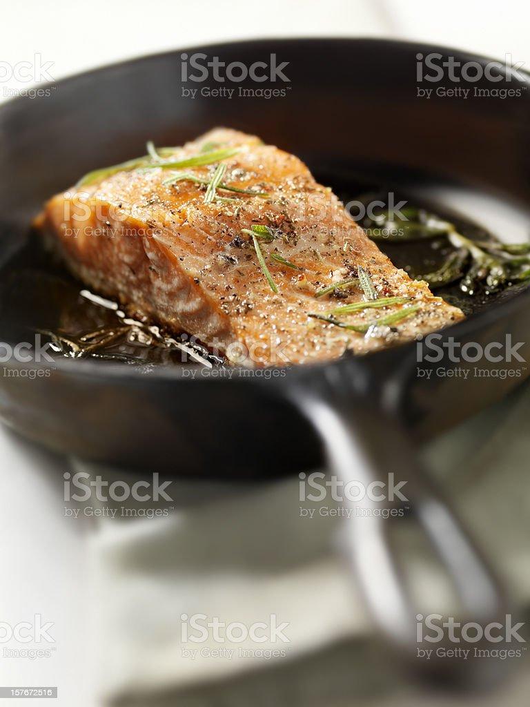 Salmon Filet with Fresh Rosemary royalty-free stock photo