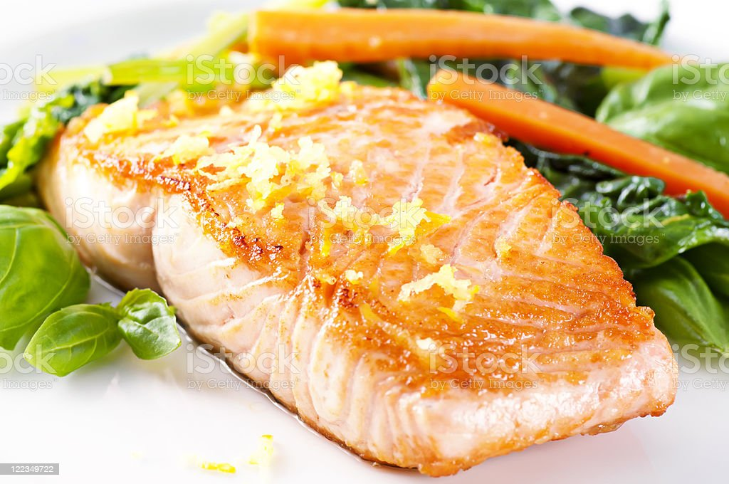 Salmon Filet with Spinach royalty-free stock photo