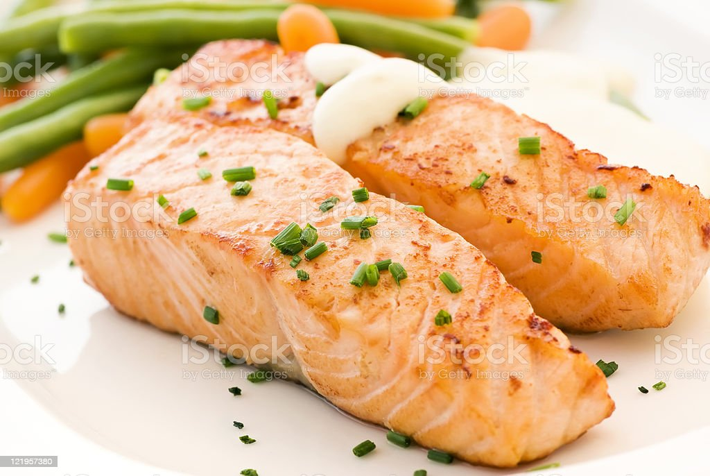 Salmon filet with Vegetable stock photo