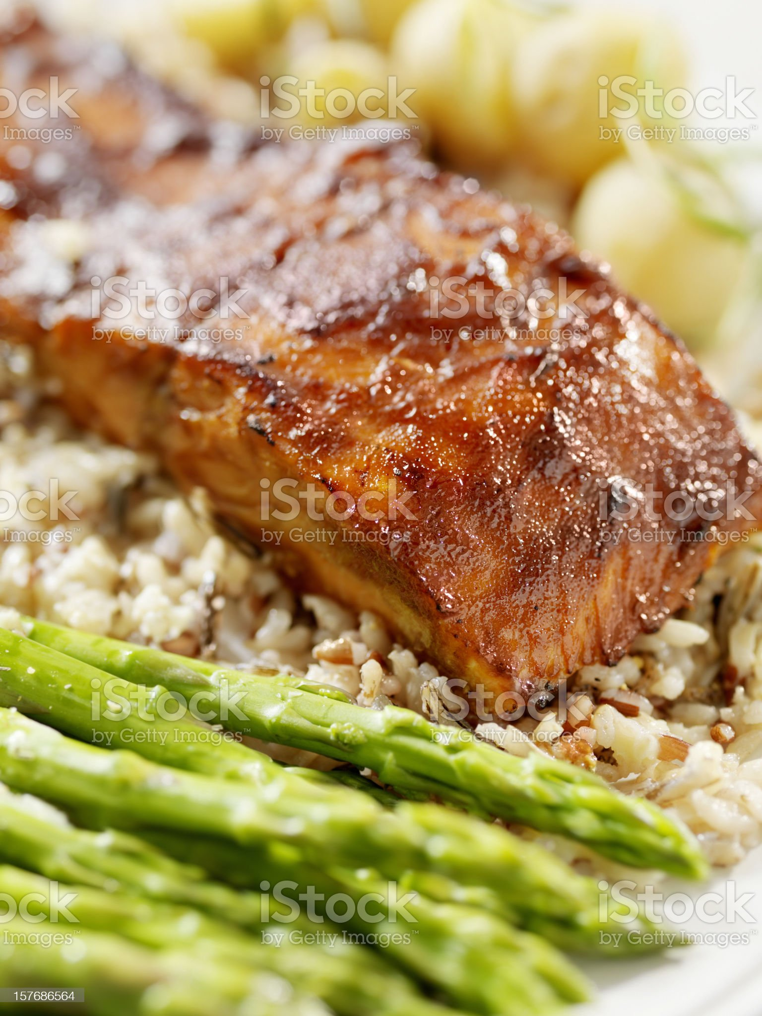 Salmon Filet with Wild Rice royalty-free stock photo