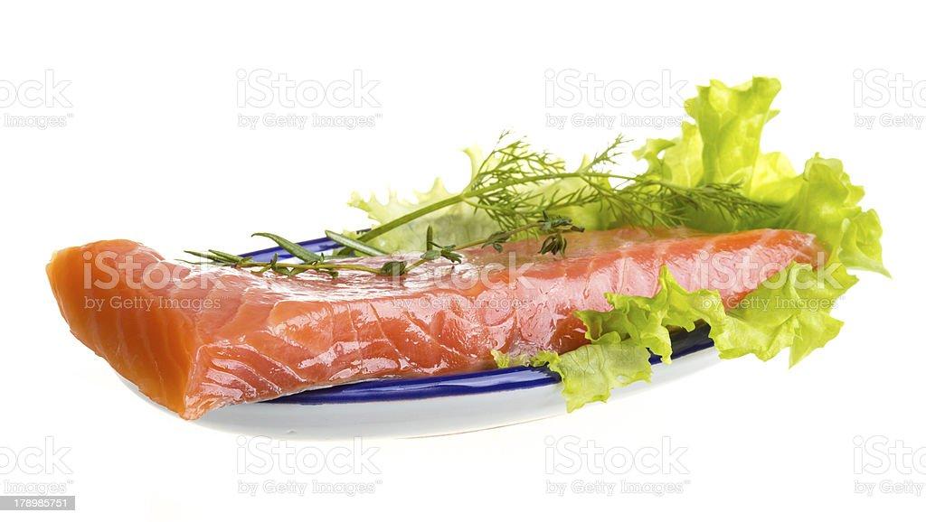 Salmon fillet garnished royalty-free stock photo