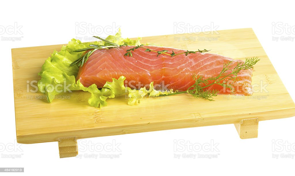 Salmon fillet garnished royalty-free stock photo