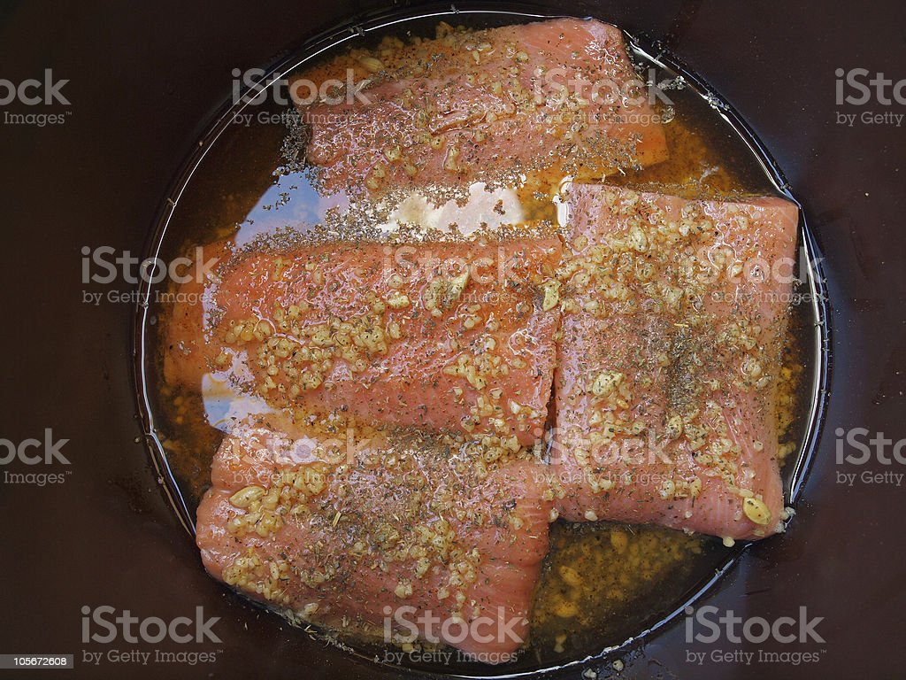 Salmon fillet marinated royalty-free stock photo
