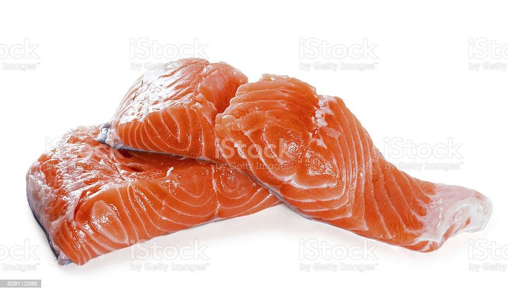 Salmon fillet on a white background stock photo