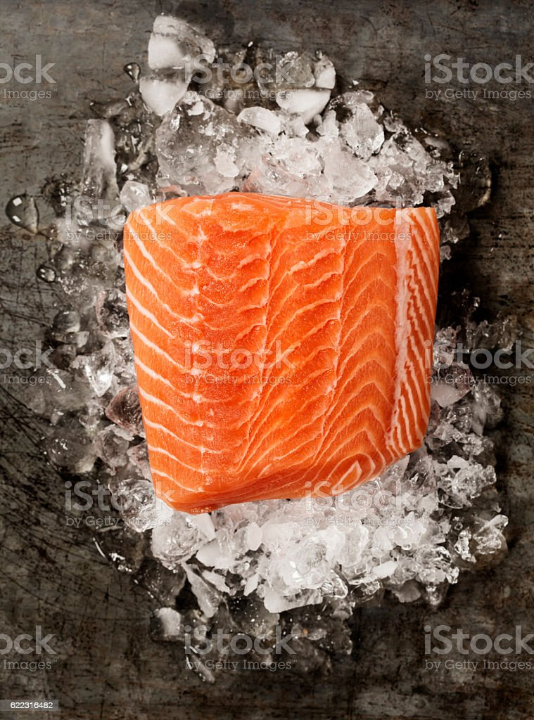 Salmon Fillet on Ice stock photo