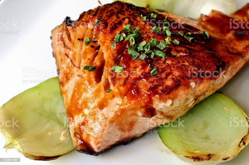 Salmon fillet steak grilled with Japanese Teriyaki sauce stock photo