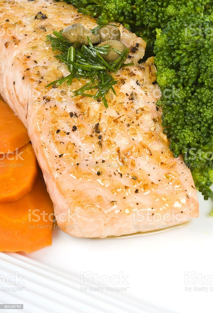 Salmon Fillet with Caper and Dill Sauce royalty-free stock photo