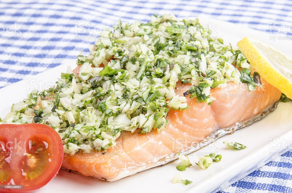 Salmon fillet with crushed herbs royalty-free stock photo