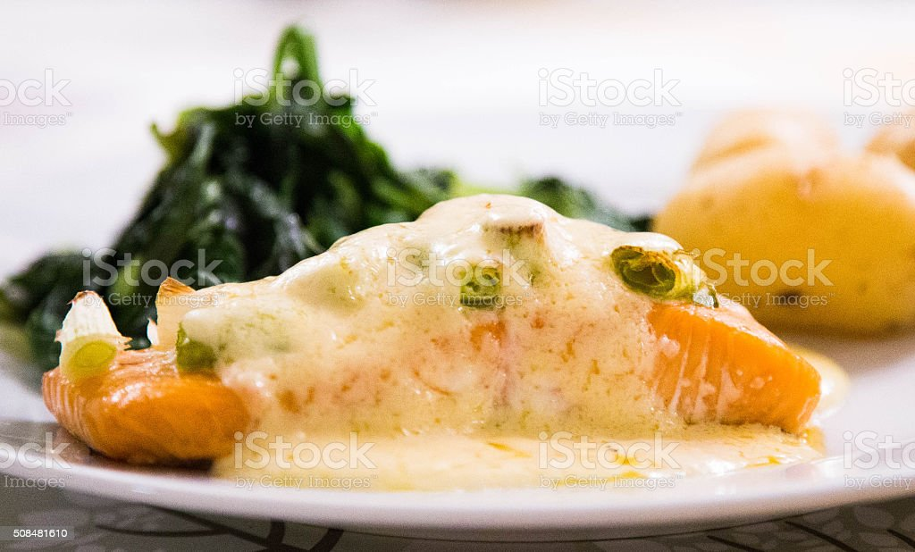 salmon fillet with hollandaise sauce stock photo