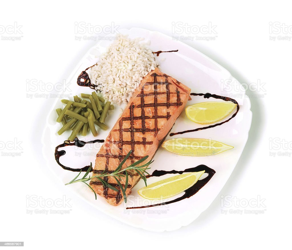 Salmon Fillet with Risotto. royalty-free stock photo