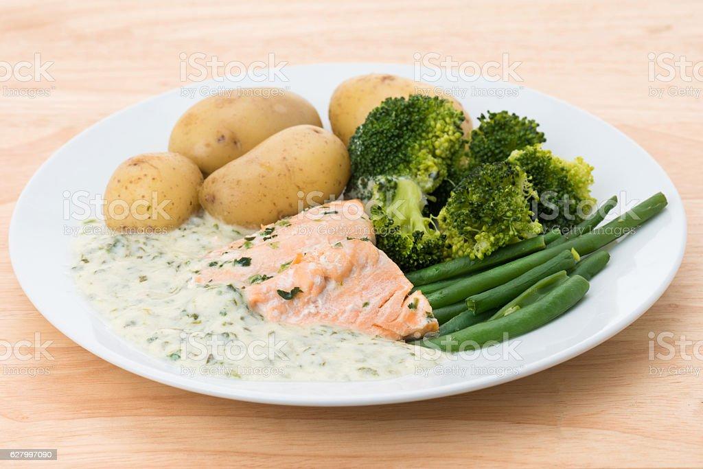 Salmon fillet with watercress sauce stock photo