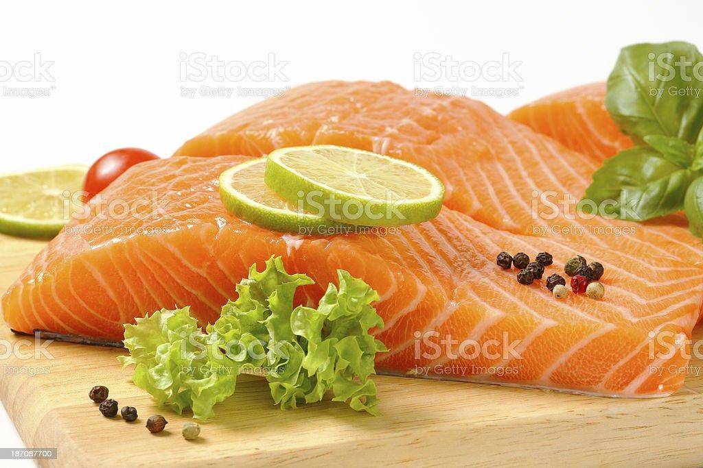 salmon fillets stock photo