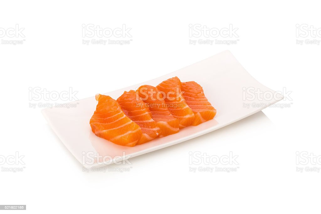 salmon fish fresh meat slice isolated on white background stock photo