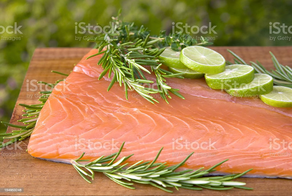 Salmon Fish Seafood Fillet, Healthy Food Cooking & Cedar Plank Barbeque stock photo