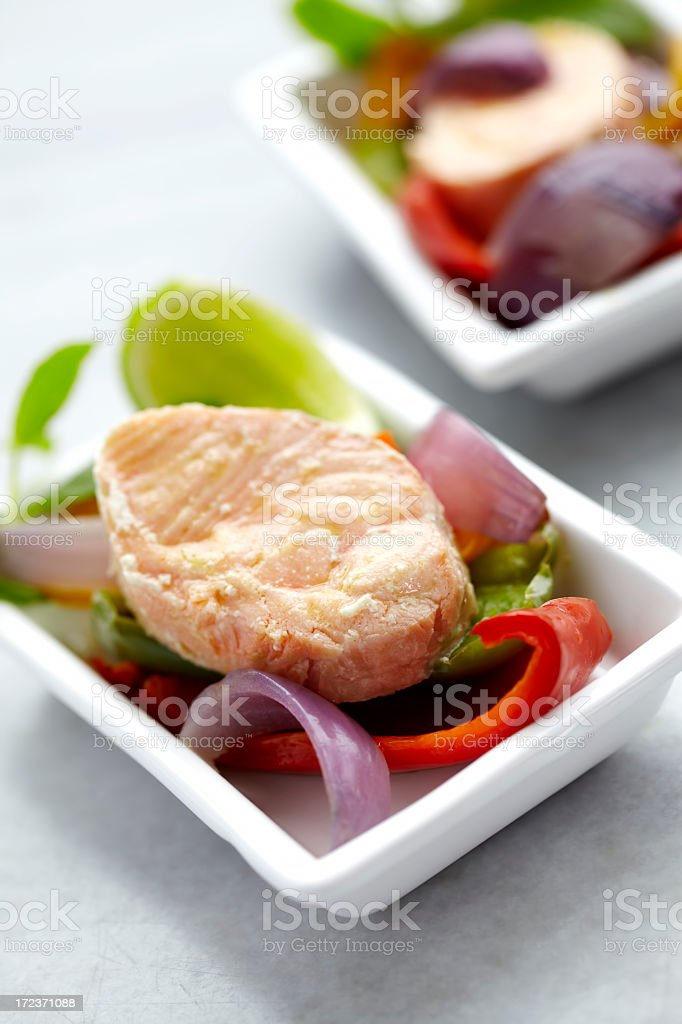 Salmon fish served with vegetables royalty-free stock photo