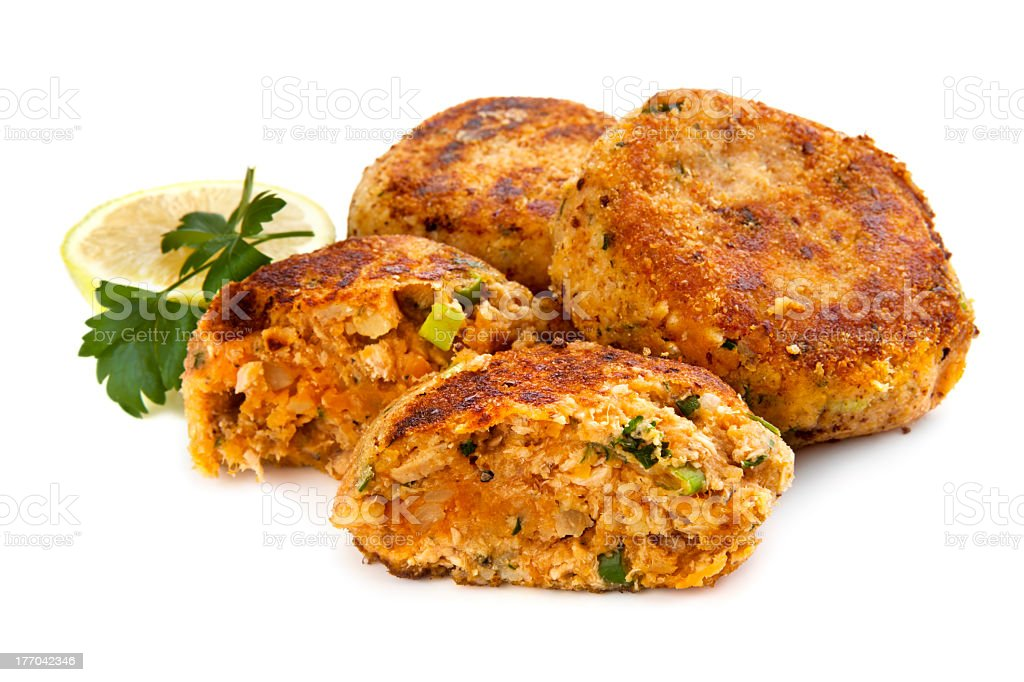 Salmon Fishcakes over White Background stock photo