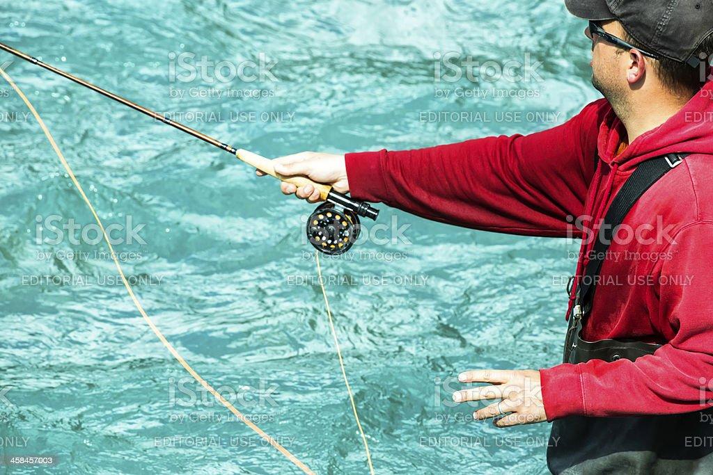 Salmon fishing in Alaska on the Kenai River royalty-free stock photo
