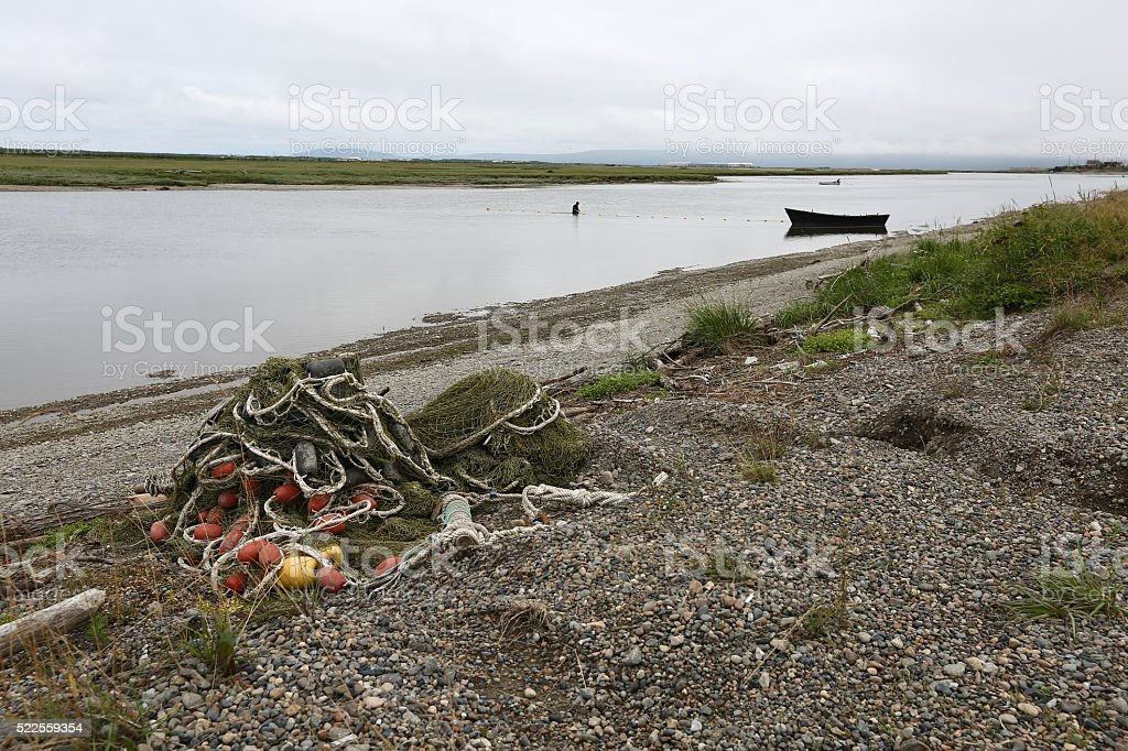 Salmon fishing nets on the river stock photo