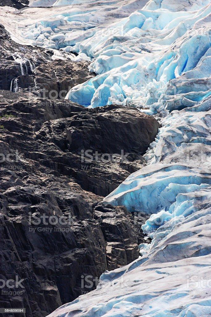 Salmon Glacier Blue Ice Crevasses Seracs stock photo
