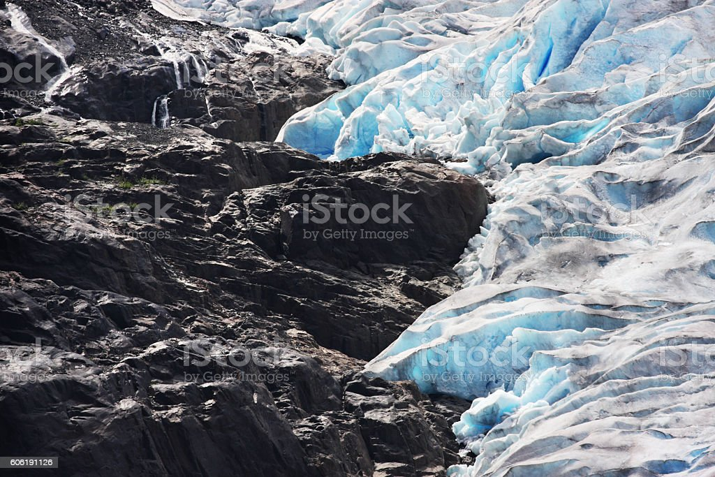Salmon Glacier Blue Ice Crevasses Seracs stock photo
