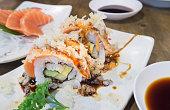 salmon grilled sushi. japanese food