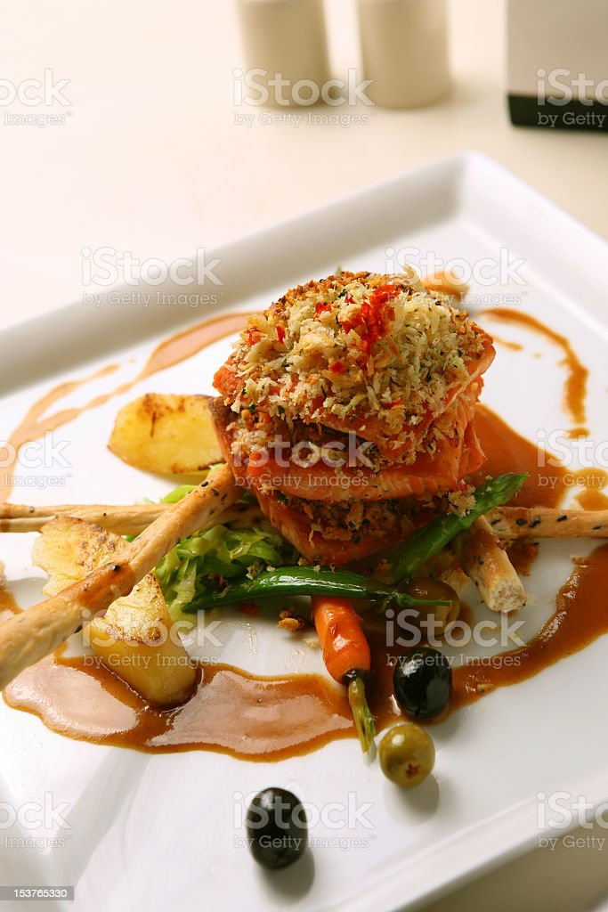 salmon grilled with potato royalty-free stock photo