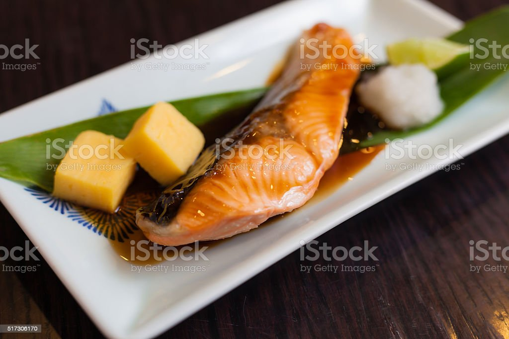 Salmon grilled with sauce japanese food stock photo